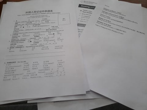 Documents for Chinese visa application