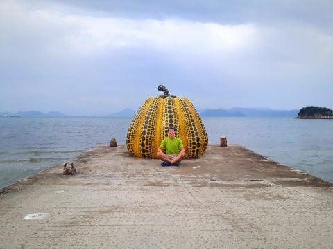 Yellow pumpkin in Naoshima