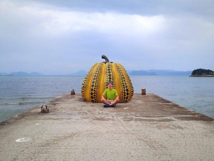 Yellow pumpkin in Naoshima