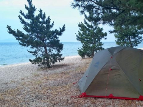 Camping in Lake Biwa