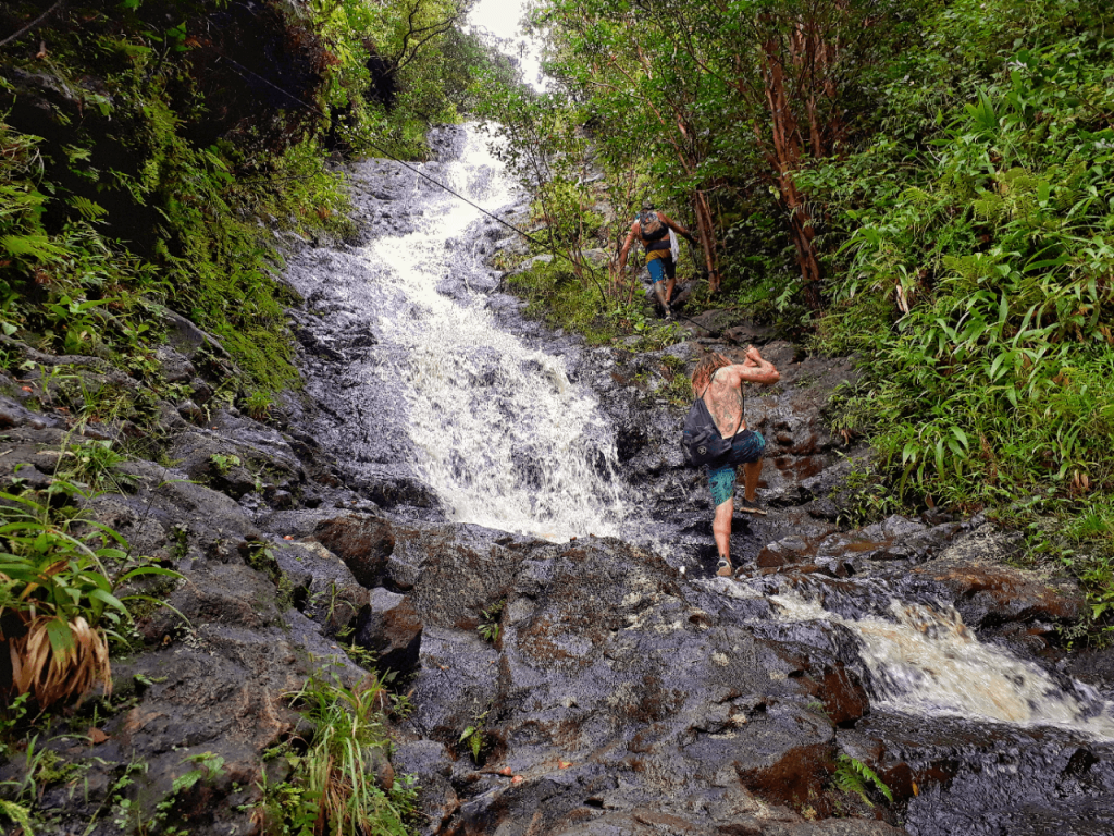 Waterfall climbing Kaau Trail